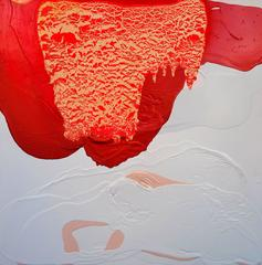 Meditation IX - Textural abstract red peach yellow white painting