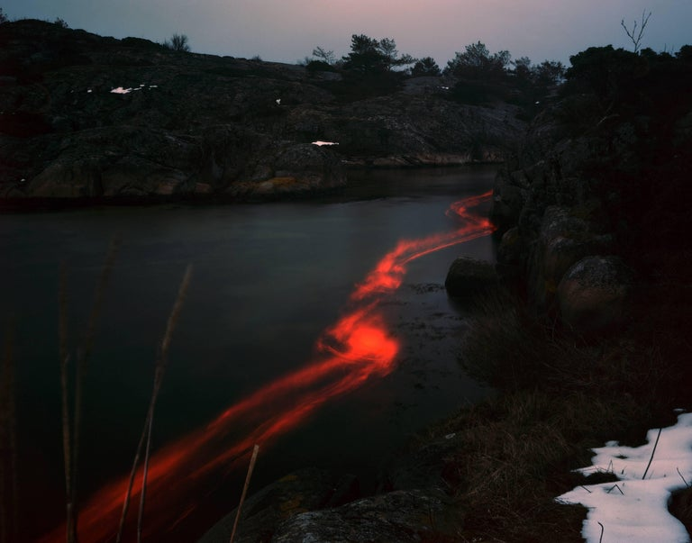 Ole Brodersen Landscape Photograph - Copper, wood and styrofoam #1 - Scandinavian landscape black and red photograph