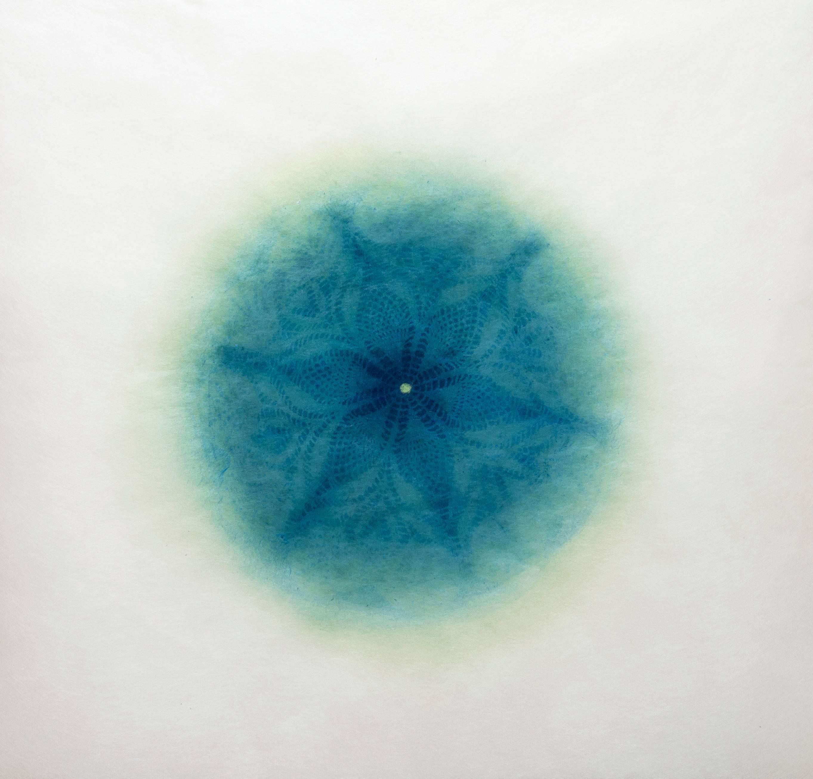 Revolution IX - Blue geometric abstract monoprint and laser cut rice paper