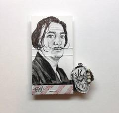 Salvator Dali- figurative black and white portrait on matchbox