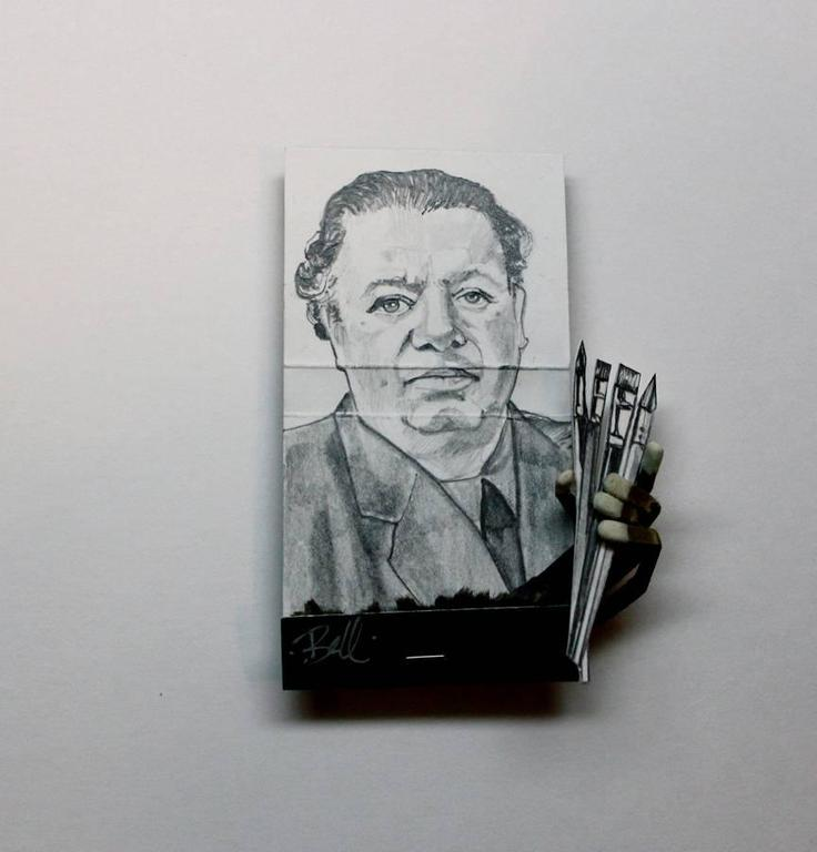 MB visual Portrait - Diego Rivera- figurative black and white portrait on matchbox