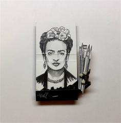 Frida Kahlo- figurative black and white portrait on matchbox