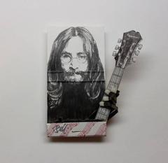 John Lennon- figurative black and white portrait on matchbox
