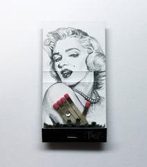 Marilyn Monroe-figurative black and white portrait on matchbox