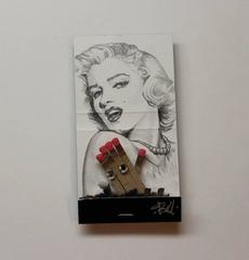Marilyn Monroe- figurative black and white portrait on matchbox