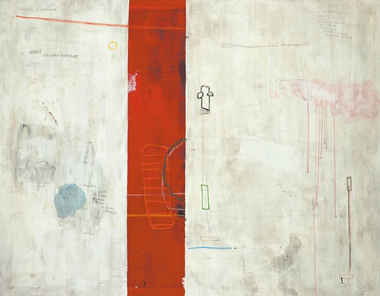 Lionel Pratt Abstract Painting - Architect with Green Boardshort - horizontal white and red street art painting