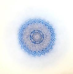 Revolution XVII- blue geometric abstract monoprint and laser cut rice paper