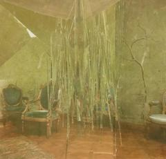 Noise II- large contemporary classical interior photo collage on mylar green