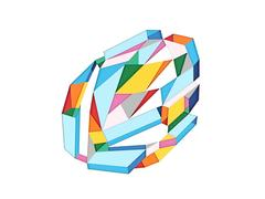 Color 1- abstract colorful textural hand cut layered paper round shape