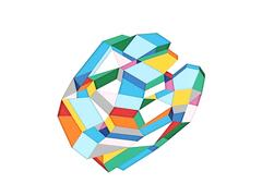 Color 2 - colorful abstract geometric textural layered hand cut paper