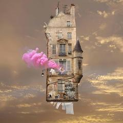 Pink - digital color whimsical photography of flying house