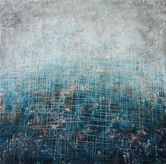Surface wounds - street art blue, black and white contemporary abstract painting