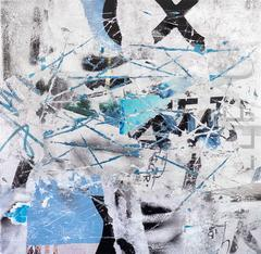 Cuts and Scrapes #1 - contemporary street art white and blue abstract painting