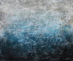 Chorus and Drifters- contemporary street art abstract blue, black white painting
