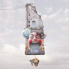 Hell- Contemporary whimsical digital color photo of flying house