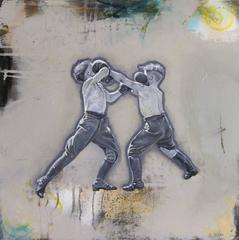 Elbows Up - black and white figurative hyperrealistic boxing boys painting