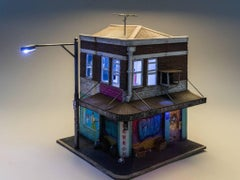 Black Shadow Trading cie - miniature light up building with graffiti street art