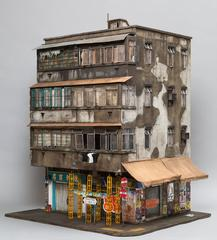 Temple Street - miniature Chinese urban building sculpture Hong Kong Koowlon