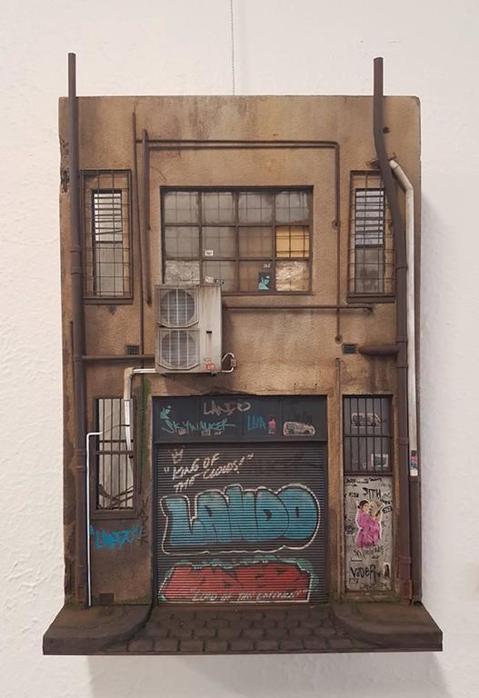 Joshua Smith Still-Life Sculpture - Cecile Walker Cycles - miniature urban building sculpture- street art graffiti