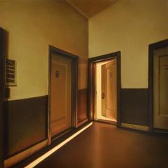 610 - interior hyperrealistic apartment oil painting