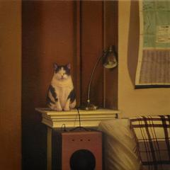 Still - small calm hyperrealistic interior oil painting with cat