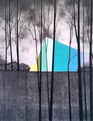 Rearview - large blue architectural landscape nature contemporary drawing
