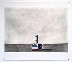 Road home- large contemporary drawing caravan road trip light house landscape