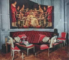 Gilt Glitches Slowly - large classical contemporary red interior photo transfer