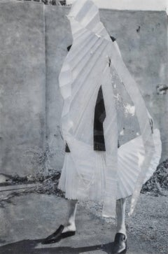 fashion - black / white photo transfer and collage on mylar woman portrait