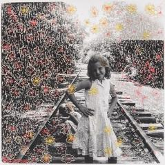 Train tracks- embroidered contemporary photography portrait of girl