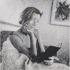 Reader- black and white embroidered photography portrait woman with book
