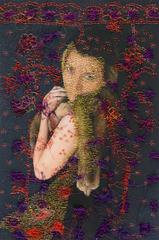 woman with fur- red purple contemporary embroidered photography woman portrait