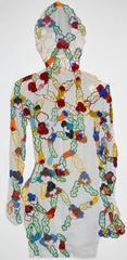 Portrait as my grandmother - embroidered textile portrait floral colorful motifs