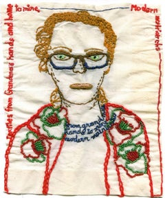 Selfie as modern Matriarch- embroidered floral portrait on fabric