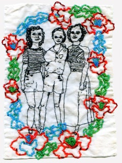 The three sisters- embroidered portrait on fabric
