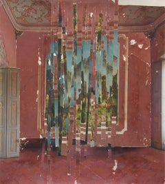 Study 9 - contemporary red pink green interior photography transfer on mylar