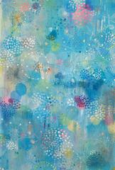Blue flutter 1- pastel color abstract contemporary nature inspired oil painting