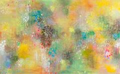 Yellow weeds - bright color abstract contemporary nature inspired oil painting