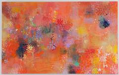 Lustrous orange - abstract intricate contemporary nature inspired oil painting