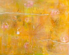 yellow - abstract intricate nature inspired contemporary oil painting