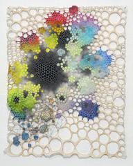Karen Margolis - Tathata- Abstract Geometric Molecular Painting on Paper, Thread and Map Fragment