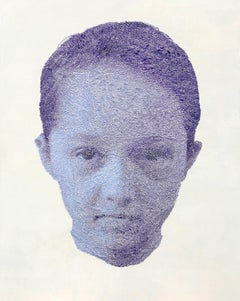 Mei Lin violet- contemporary purple girl portrait with torn and pasted photo