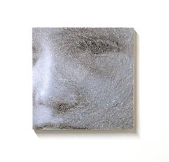 frament #1 - contemporary black and white portrait on torn and pasted photograph