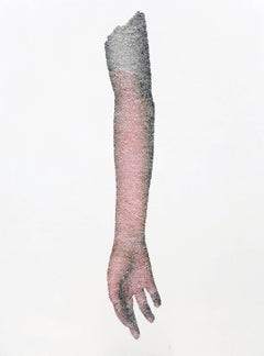 Drooping Arm- contemporary figurative arm with torn and pasted photograph