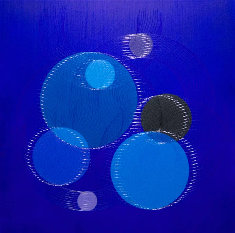 James Minden Abstract Drawing - Potential- abstract geometric holographic light drawing on wood panel