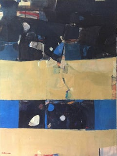 Veruca - blue and yellow large vertical abstract contemporary painting