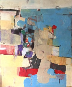 Western Plans- colorful large abstract contemporary oil painting