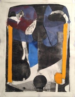 Early voting - abstract colorful blue black yellow painting and collage on paper