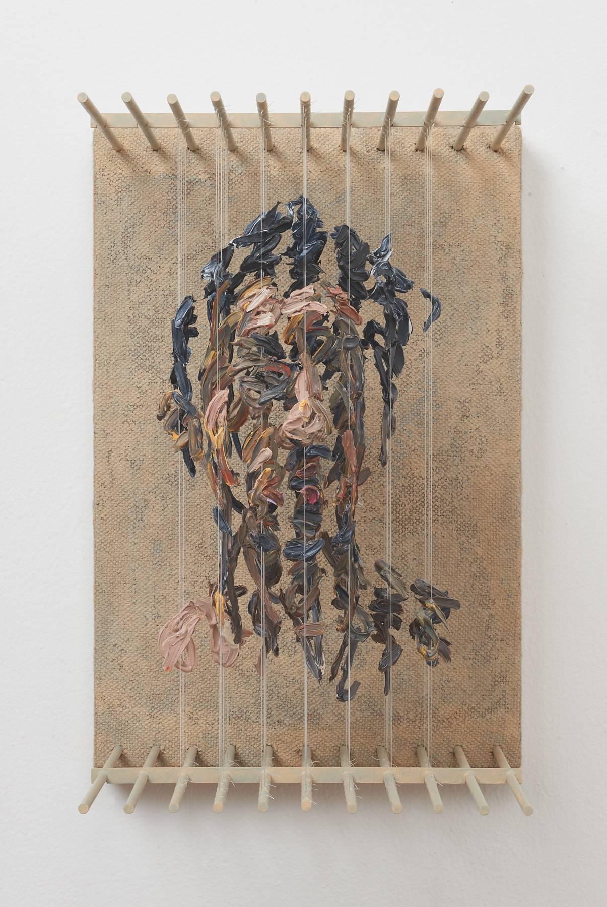 SRO- 3D figurative portrait sculpture with suspended paint strokes