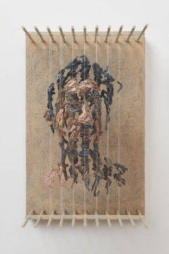 SRO- 3D figurative portrait sculpture with suspended paint strokes